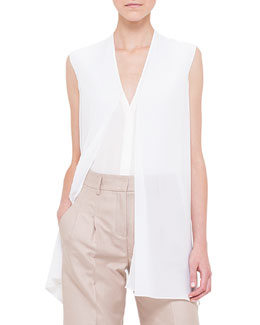 Sleeveless Scarf-Front Top, Calcite