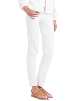 Magda Slim-Fit Silk-Blend Pants, Calcite