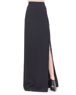 Double-Faced Side-Slit Long Skirt, Black