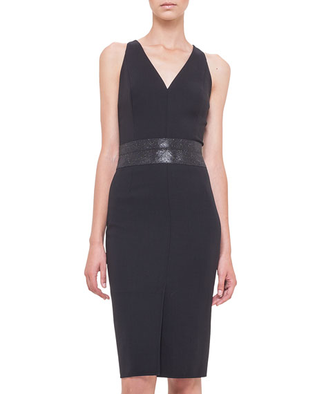 Akris Swarovski Crystal-Embellished Sheath Dress, Black