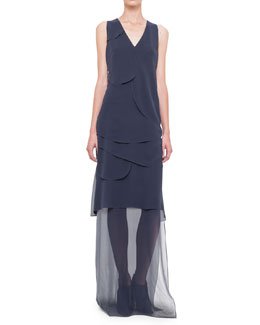 Sleeveless Asymmetric-Overlay Gown, Navy