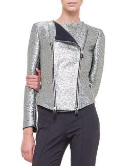 Metallic Double-Zip Moto Jacket, Silver