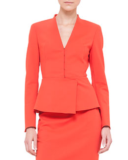 Peplum Stretch-Crepe Jacket, Akai