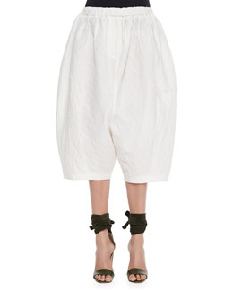 Drop-Rise Textured Fez Pants, Ivory