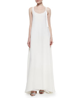 Tassel-Detailed Racerback Gown, Ivory