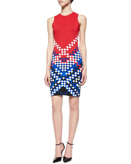 Colorblock Checkerboard Sheath Dress
