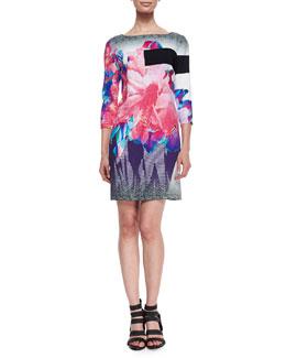 Bateau-Neck Exploded Floral-Print Shift Dress