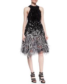 Ruffled Organza Feather-Embellished Dress