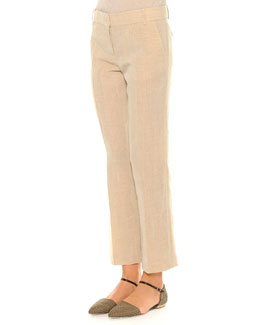 Linen-Blend Lightweight Ankle Pants, Beige