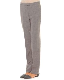 Seamed Tab-Front Straight-Leg Pants