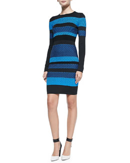 Long-Sleeve Striped Mesh Dress