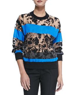 Semisheer Sweatshirt with Colorblock Stripes