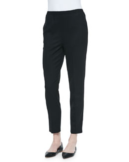 Tropical Wool Slim Trouser, Black