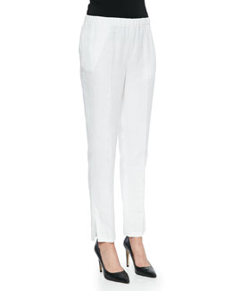 Tapered Slim-Fit Crepe Pants, White
