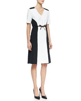 Bicolor Stretch-Cotton Pique Dress