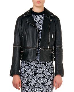 Leather Biker Jacket with Zip-Off Hem
