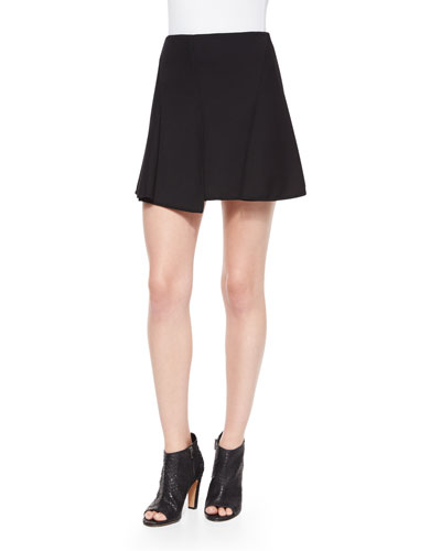 Paneled Asymmetric Mini Skirt