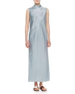 Mock-Neck Sleeveless Organza Dress