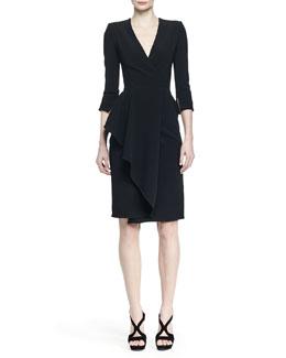 3/4-Sleeve Draped-Ruffle Dress, Black