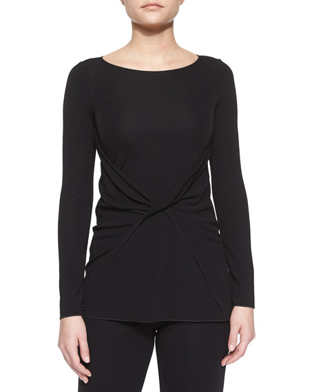Twist-Front Jersey Top, Black