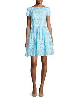 Short-Sleeve Printed Day Dress, Blue