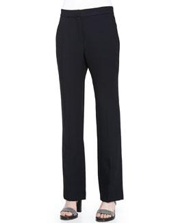 Flare-Leg Pants w/Ankle Slit, Black