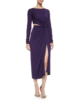 Cool Jersey Twisted Cutout Dress