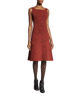 Sleeveless Cutout-Back Dress, Mahogany/Black