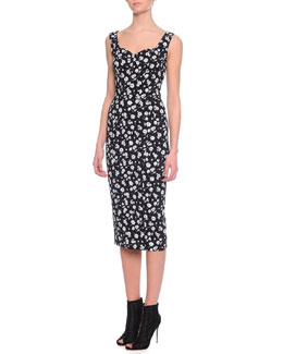 Sweetheart-Neck Mini Floral-Print Dress