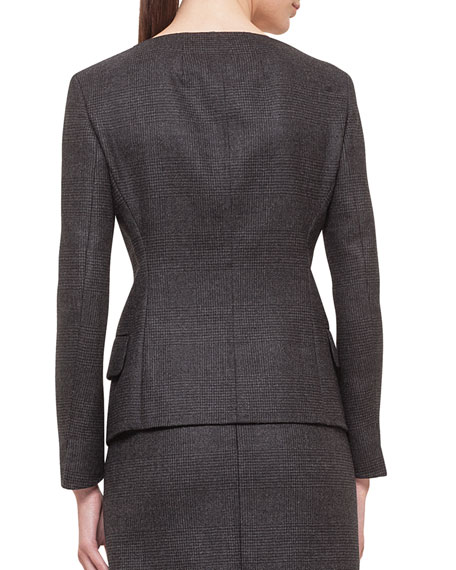 Glen Plaid Bateau-Neck Jacket