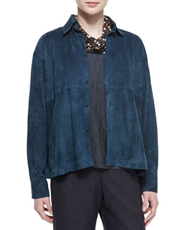 Lightweight Suede A-Line Blouse