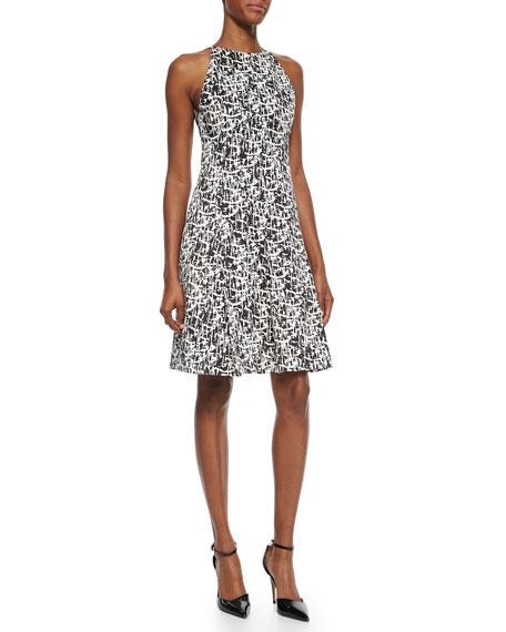 Pleated Printed Silk Flounce Dress