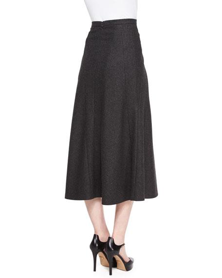 Flannel Trumpet Midi Skirt, Charcoal Melange