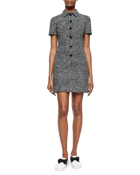 Crosshatch-Print Polo Dress