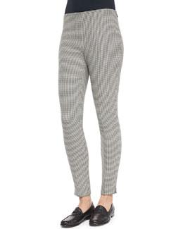 Houndstooth Wool Side-Zip Pants