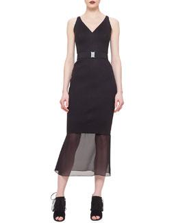Sheer-Hem Belted Dress, Black