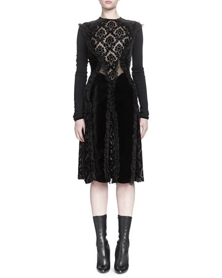 Devore Ruffle-Paneled Dress