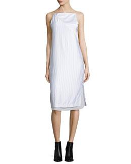 Layered Raised-Seam Satin Shift Dress