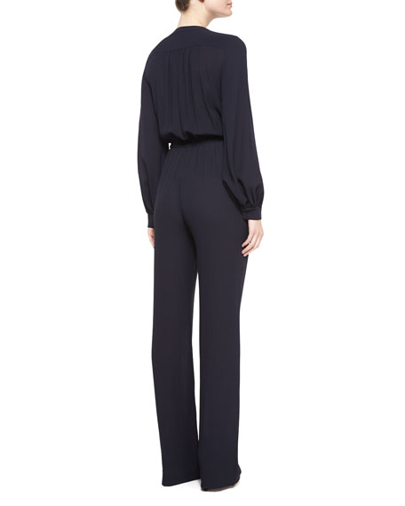 Long-Sleeve Pleated-Front Jumpsuit, Navy