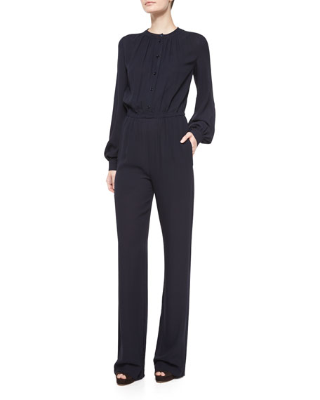 Michael Kors Collection Long-Sleeve Pleated-Front Jumpsuit, Navy