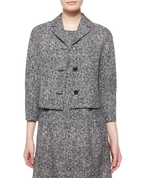 Michael Kors Collection 3/4-Sleeve Tweed Jacket, Black/White
