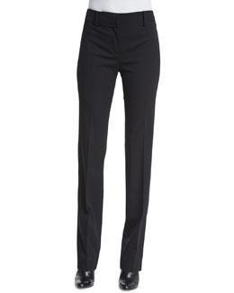 Straight-Leg Flat-Front Pants, Black
