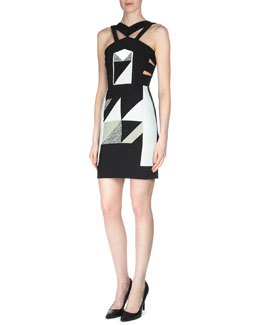 Altamira Patchwork Collage Dress, Black Multi