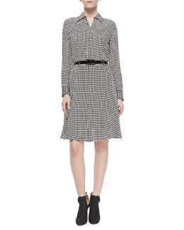 Long-Sleeve Houndstooth Belted Shirtdress, Black/Vanilla
