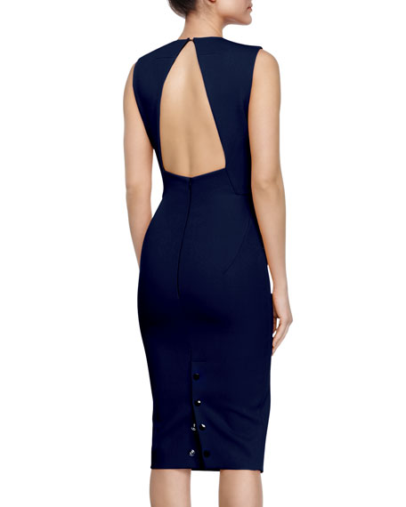 Studded Open-Back Bias-Slit Sheath Dress