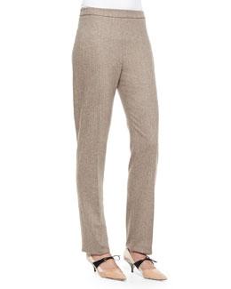 Stretch-Wool Skinny-Fit Pants, Brown