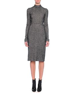 Long-Sleeve Mock-Neck Sheath Dress