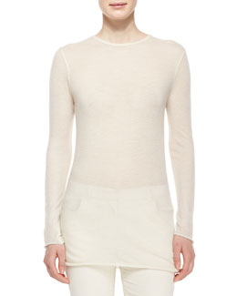 Long-Sleeve Cashmere Tissue Top, Natural
