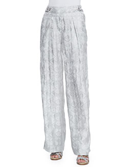 Wide-Leg Pants with Side Buttons