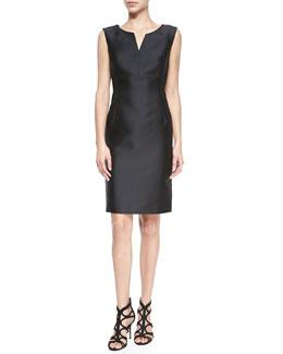 Sleeveless Seam-Detail Sheath Dress